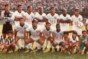 TUPI FC - Campeonato Mineiro 1989 Em pé Junior, Gomes, Deca, Jorge Luiz, Marcelo, Evaldo e Adil. Agachados Guto, Osmar Bueno, Ronaldo e Ailton.