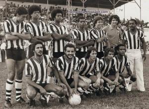 Tupi 1979 - Estádio Salles Oliveira - TUPI 2 x 1 Seleção Brasileira de Amadores. Em pé Zé Eduardo, Alves, Julio Maravilha, Lilinho, Marcio Carrapato e Paulo Roberto. Agachados Leão, Carlinhos, Samarone, Alemão e Magalhães
