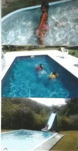 pessoais Sofia e Gabriel na piscina do Gildo e de casa